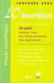 20 dissertations ; la paix - Intérieur - Format classique