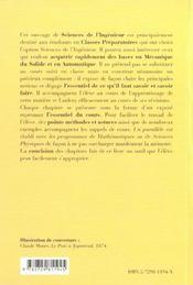 Sciences Industrielles Mecanique & Automatique Classes Preparatoires Scientifiques 1re & 2e Annee - 4ème de couverture - Format classique