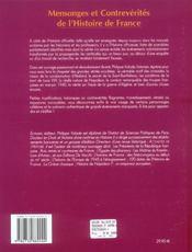 Mensonges Et Contreverites De L'Histoire De France - 4ème de couverture - Format classique