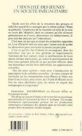 L'identité des jeunes en société inégalitaire ; le cas des maghrébins en France - 4ème de couverture - Format classique