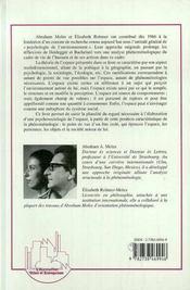 Psychosociologie de l'espace - 4ème de couverture - Format classique