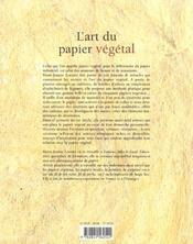 L'art du papier vegetal - 4ème de couverture - Format classique
