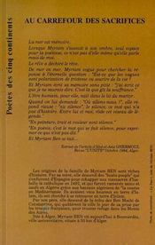Au Carrefour Des Sacrifices - 4ème de couverture - Format classique