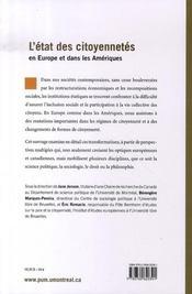 L'etat des citoyennetés en europe et dans les amériques - 4ème de couverture - Format classique