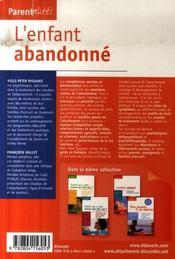 L'enfant abandonné ; guide de traitement des troubles de l'attachement - 4ème de couverture - Format classique