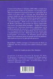Gershom Scholem - Cabale Et Contre-Histoire - 4ème de couverture - Format classique