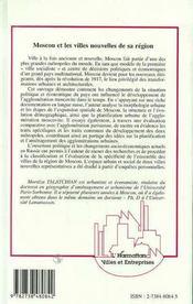 Moscou Et Les Villes Nouvelles De Sa Region ; Evaluation Comparative Avec L'Agglomeration Parisienne - 4ème de couverture - Format classique