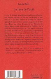 Le Luxe De L'Exil - 4ème de couverture - Format classique