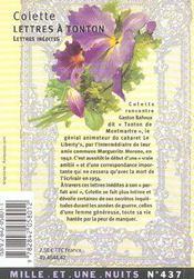 Lettres à tonton - 4ème de couverture - Format classique