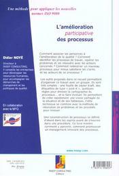 L'Amelioration Participative Des Processus - 4ème de couverture - Format classique