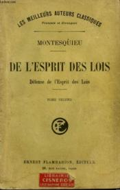 De L'Esprit Des Lois. Defense De L'Esprit Des Lois. Tome 2. - Couverture - Format classique
