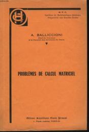 Problemes De Calcul Matriciel - Couverture - Format classique