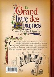 Le grand livre des énigmes ; casse-tête et jeux de logique - 4ème de couverture - Format classique