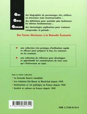 Des Trente Glorieuses A La Nouvelle Economie - 4ème de couverture - Format classique