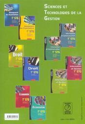 Stg ; Information Et Gestion ; Specialite Gestion - 4ème de couverture - Format classique