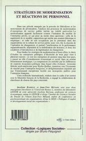 Strategies De Modernisation Et Reactions Du Personnel - 4ème de couverture - Format classique