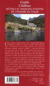 Guide des auberges et maisons d'hotes en italie - 4ème de couverture - Format classique
