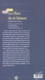 Mines du roi salomon - 4ème de couverture - Format classique