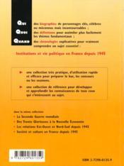 Institutions Et Vie Politique En France Depuis 1945 - 4ème de couverture - Format classique