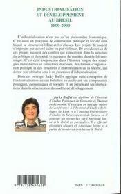 Industrialisation Et Developpement Au Bresil 1500-2000 - 4ème de couverture - Format classique