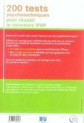 200 tests psychotechniques pour réussir le concours ifap - 4ème de couverture - Format classique