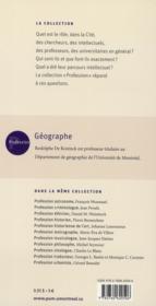 Profession géographe - 4ème de couverture - Format classique