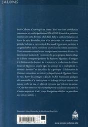 Les années parisiennes d'Italo Calvino (1964-1980) ; sous le signe de Raymond Queneau - 4ème de couverture - Format classique