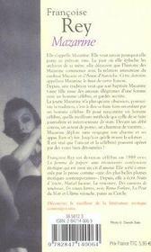 Mazarine - 4ème de couverture - Format classique