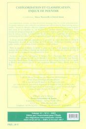 Categorisation Et Classificati - 4ème de couverture - Format classique