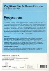 Revue Vingtieme Siecle N.93 ; Provocations - 4ème de couverture - Format classique
