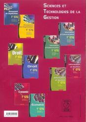 Stg ; Information Et Gestion ; Specialite Communication - 4ème de couverture - Format classique