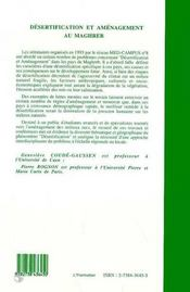 Desertification Et Amenagement Au Maghreb - 4ème de couverture - Format classique