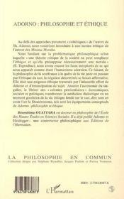 Adorno : Philosophie Et Ethique - 4ème de couverture - Format classique