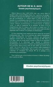 Autour De Wr Bion ; Essais Psychanalytiques - 4ème de couverture - Format classique
