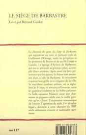 Le Siege De Barbastre - 4ème de couverture - Format classique