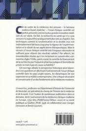 La médecine des preuves ; une histoire de l'expérimentation thérapeutique par essais cliniques contrôlés - 4ème de couverture - Format classique