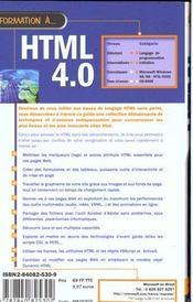 Formation A Html - 4ème de couverture - Format classique