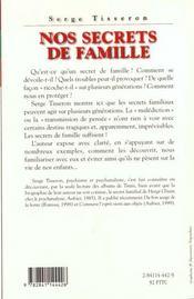 Nos Secrets De Famille - 4ème de couverture - Format classique
