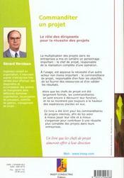 Commanditer Un Projet. Le Role Des Dirigeants Pour La Reussite Des Projets. 10 Cles Pour La Maitrise - 4ème de couverture - Format classique