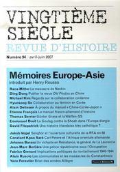 Mémoires Europe-Asie - Intérieur - Format classique