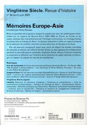Mémoires Europe-Asie - 4ème de couverture - Format classique