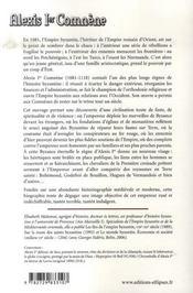 Alexis 1er comnène - 4ème de couverture - Format classique