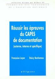 Reussir Les Epreuves Du Capes De Documentation (Externe Interne Et Specifique) - Intérieur - Format classique