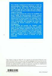 Reussir Les Epreuves Du Capes De Documentation (Externe Interne Et Specifique) - 4ème de couverture - Format classique