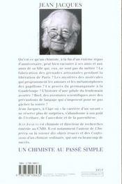 Un chimiste au passe simple - 4ème de couverture - Format classique