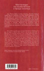 Rahel Varnhagen ; Une Revoltee Feministe A L'Epoque Romantique - 4ème de couverture - Format classique
