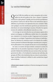 La sociocriminologie - 4ème de couverture - Format classique