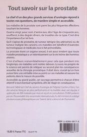 Tout Savoir Sur La Prostate + Un Cd-Rom Gratuit - 4ème de couverture - Format classique