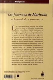 Les journaux de Marivaux et le monde des spectateurs - 4ème de couverture - Format classique