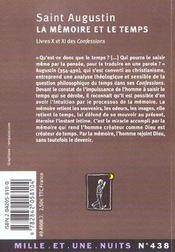 La memoire et le temps - 4ème de couverture - Format classique